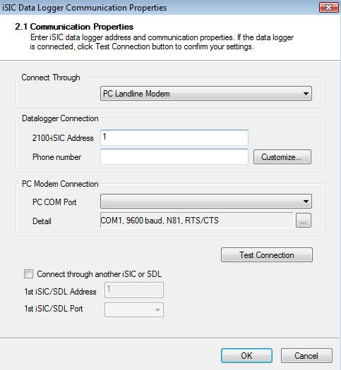 iSIC Data Logger Communication Properties
