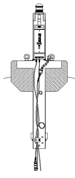 Complete mooring shown inside of data buoy, including buoy attachment chain connected to top side mooring eye