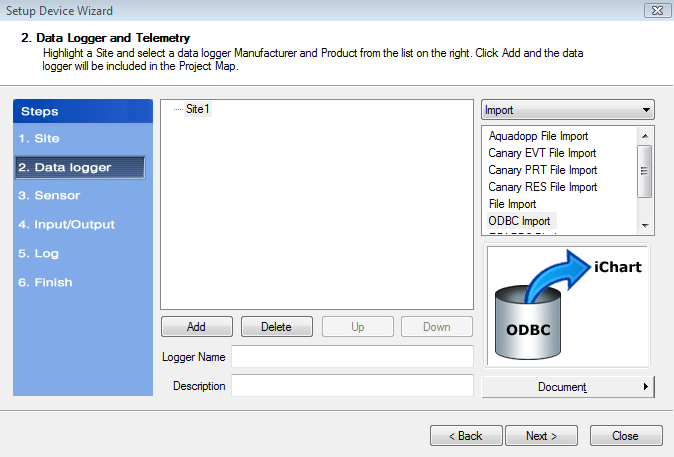 ODBC Import Setup Device Wizard