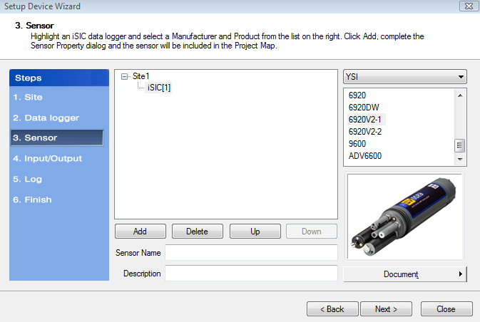 Step 3 Setup Device Wizard YSI Sonde