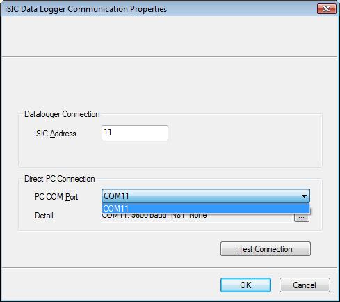 iSIC Data Logger Communication Properties Window