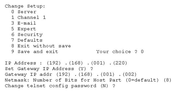 Enter IP Address and Gateway