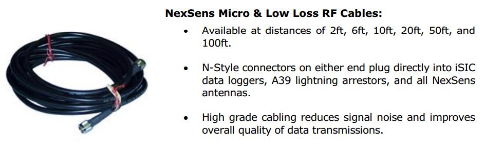 NexSens Micro & Low Loss RF Cables