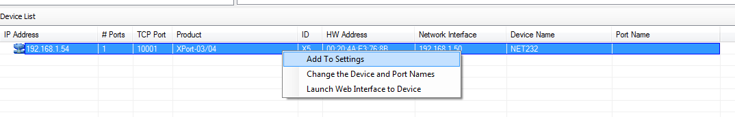 Right-click Device List and select Add to Settings