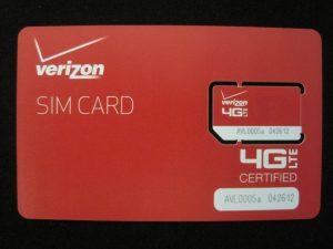Figure 2: Verizon 4G LTE SIM Card