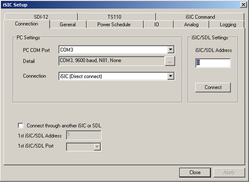 iSIC Setup window