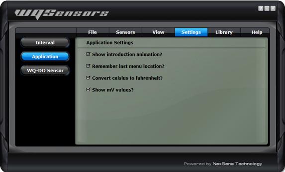 Application Settings menu in the Settings tab in WQSensors software