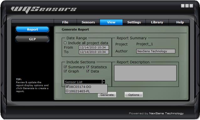 Select sensors from the Sensor list drop down menu