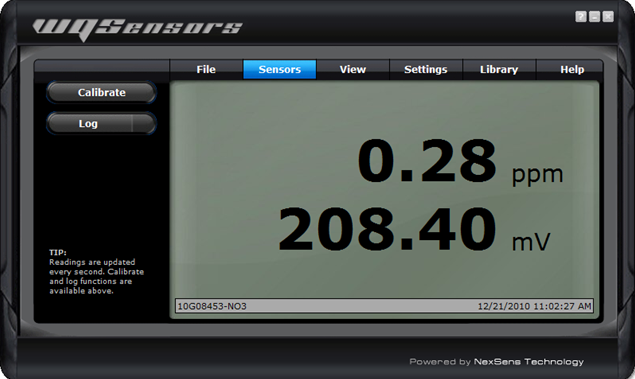 Sensors tab for WQ NO3