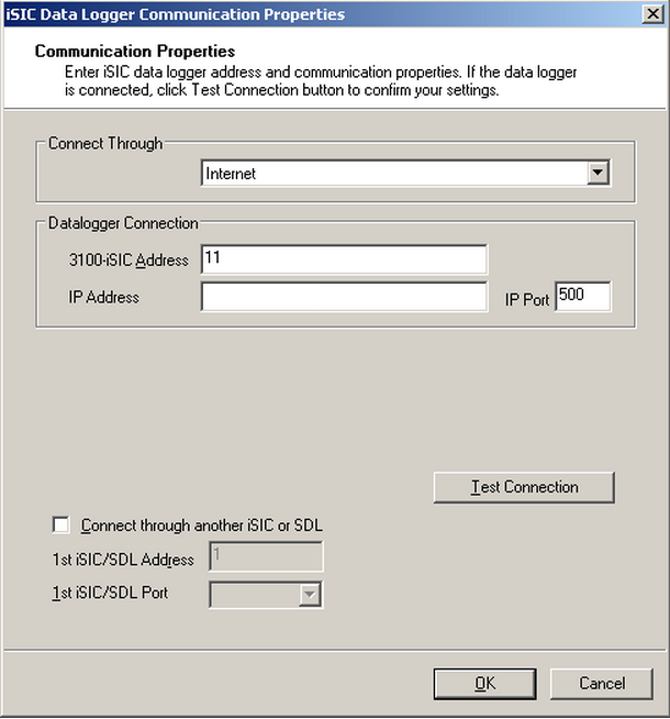 isic data logger communication properties for pass through