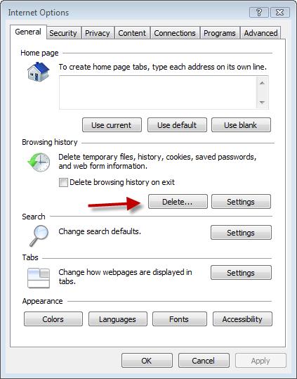 Internet Options click delete