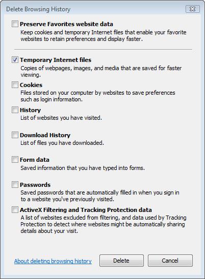 delete browsing history window internet explorer