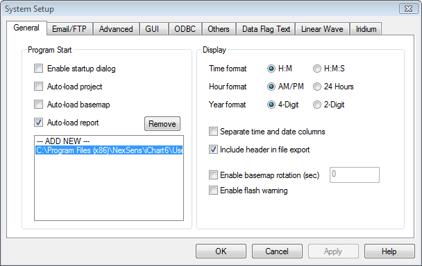 system setup window with report added