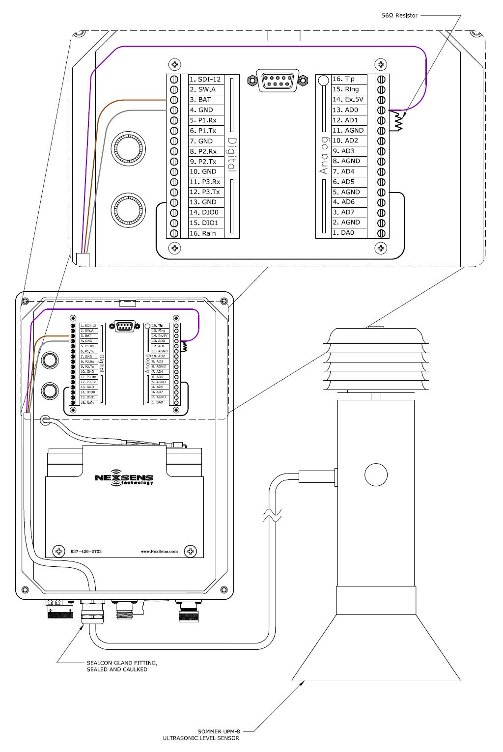 Sommer Upm 8 Ultrasonic Level Sensor Nexsens Technology Inc Figure 3 A Completed Rain Detector Circuit 1 Wiring An Into Isic Data Logger